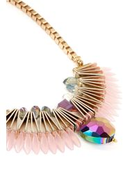 Scho | Pink Electroplate Crystal Fan Necklace | Lyst