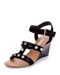 Balenciaga - Black Studded Leather Wedge Sandals - Lyst