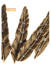 Oscar de la Renta - Metallic Crystal Feather Headband - Lyst