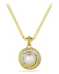 David Yurman - Metallic Pearl Crossover Pendant With Diamonds In Gold - Lyst