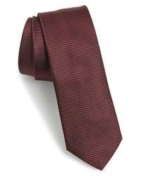 HUGO - Red Stripe Woven Silk Tie for Men - Lyst