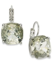 kate spade new york - Metallic New York Earrings, Silver-Tone Crystal Square Leverback Earrings - Lyst