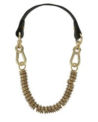 Moxham | Snipe Black Leather And Gold Plated Chain Necklace | Lyst