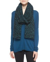 Vince - Blue Speckled Cotton-blend Knit Scarf - Lyst