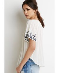 Forever 21 | Blue Contrast-embroidered Peasant Top You've Been Added To The Waitlist | Lyst