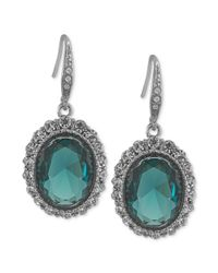 Carolee - Silvertone Blue Green Crystal Oval Drop Earrings - Lyst