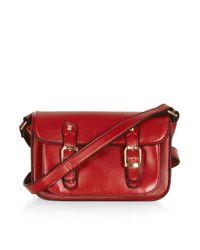 TOPSHOP - Red Front Pocket Satchel - Lyst