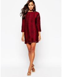 ASOS   Red Jumper Dress With Fringe Detail   Lyst