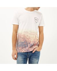 River Island - White Nyc Sepia Fade Print T-Shirt for Men - Lyst