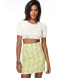 Nasty Gal - White Unif Liv Crop Sweater - Lyst