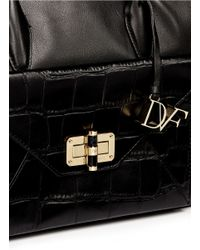 Diane von Furstenberg - Black '440 Gallery Secret Agent' Large Croc Effect Envelope Leather Tote - Lyst