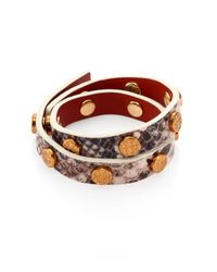 Tory Burch | Gray Snake Embossed-leather Double-wrap Logo Bracelet | Lyst