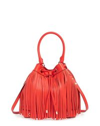 MILLY | Red 'essex' Fringed Leather Bucket Bag | Lyst