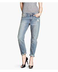 H&M   Blue Boyfriend Slim Jeans   Lyst
