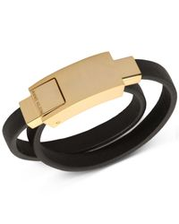 Anne Klein - Metallic Gold-tone Black Leather Charging Cable Wrap Bracelet - Lyst