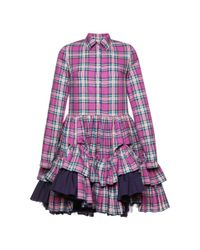 Natasha Zinko - Purple Short Checked Kaftan - Lyst