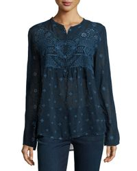 Johnny Was | Blue Long-sleeve Eyelet Blouse | Lyst
