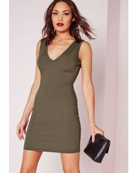Missguided - Natural Ribbed Sleeveless Plunge Bodycon Dress Khaki - Lyst