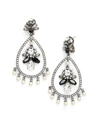 Marchesa - Metallic 'dahlia' Crystal Chandelier Earrings - Lyst