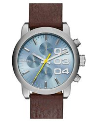 DIESEL - Metallic 'flare' Chronograph Studded Leather Strap Watch - Lyst