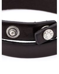 DIESEL - Black Double Wrap Bracelet for Men - Lyst