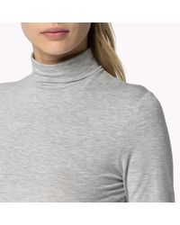 Tommy Hilfiger | Gray Cotton Polo Neck | Lyst