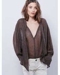 Free People - Green Star Point Blouse - Lyst