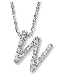Amanda Rose Collection - Metallic Diamond Initial W Pendant Set In 14k White Gold - Lyst