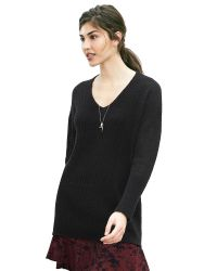 Banana Republic | Black Lace-stitch Vee Pullover | Lyst