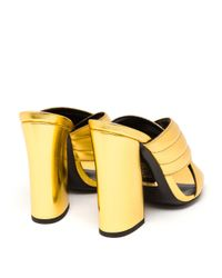 Gucci - Padded Metallic Leather Mules - Lyst