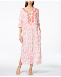 Charter Club | Pink Beaded Embroidered Paisley-print Long Caftan, Only At Macy's | Lyst