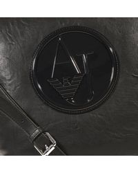 Armani Jeans | Black Handbag Hobo Ecoleather Logo Patent | Lyst