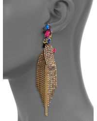 Erickson Beamon | Metallic Velvet Underground Crystal Chain Fringe Earrings | Lyst