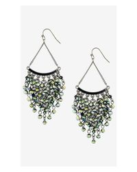 Express | Green Cascading Glass Bead Chandelier Earrings | Lyst