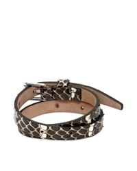 Alexander McQueen - White Leather Double Wrap Skull Bracelet - Lyst