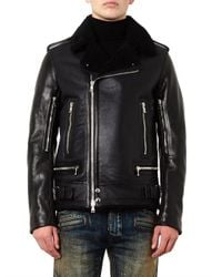 Balmain - Black Leather And Shearling Biker Jacket for Men - Lyst