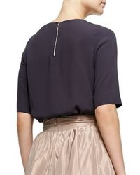 Jenny Packham - Purple Half-sleeve Bead-neck Top - Lyst