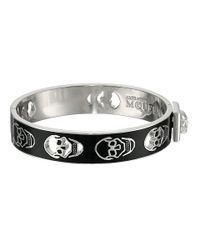 Alexander McQueen - Black Pierced Skull Bangle - Lyst