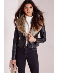 Missguided - Biker Jacket With Faux Fur Black Pu - Lyst