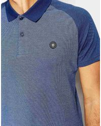 Jack & Jones | Blue Polo Shirt With Contrast Raglan Sleeves for Men | Lyst