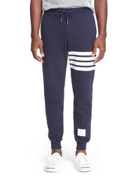 Thom Browne | Blue Stripe Fleece Pants for Men | Lyst