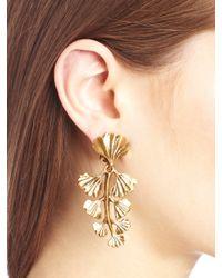 Oscar de la Renta | Metallic Russian Gold Gingko Leaf Earrings | Lyst