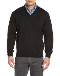 Peter Millar - Black Merino Wool V-neck Sweater for Men - Lyst