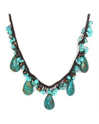 Aeravida | Blue Handmade Teardrop Turquoise Nuggets Pearl Necklace | Lyst