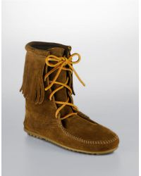 Minnetonka | Brown Tramper Moccasin Ankle Boots | Lyst