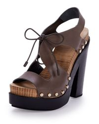 Balenciaga - Brown Lace-Front Leather Sandals - Lyst