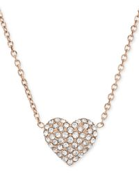 Michael Kors | Pink Rose Gold-Tone Crystal Heart Pendant Necklace | Lyst