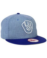 0bf3036bd73 Lyst - Ktz Milwaukee Brewers 9fifty Snapback Cap in Blue for Men