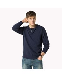 Tommy Hilfiger   Blue Wool Cotton Blend Henley for Men   Lyst