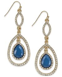 INC International Concepts | Blue Gold-tone Teal Pavé Drop Earrings | Lyst